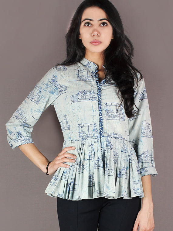Indigo Light Blue Hand Block Printed Cotton Pleated Top - T11640021