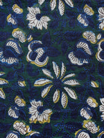 Green Indigo Ivory Hand Block Printed Cotton Fabric Per Meter - F001F1331