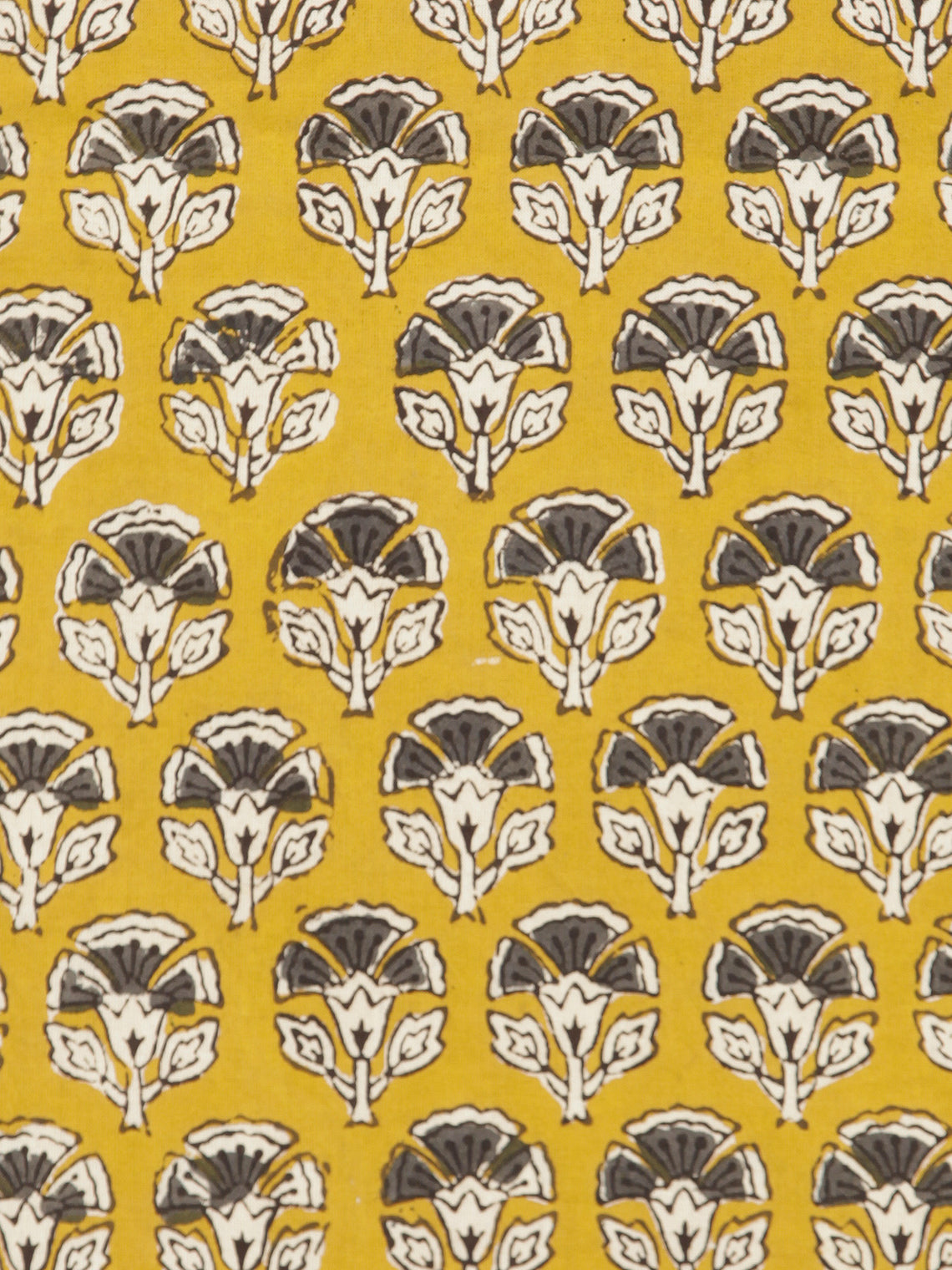 Mustard Ivory Grey Hand Block Printed Cotton Fabric Per Meter - F001F1735