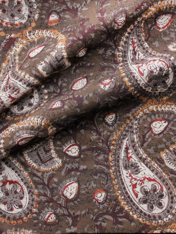 Brown Ivory Red Rust Grey Hand Block Printed Cotton Fabric Per Meter - F001F1732