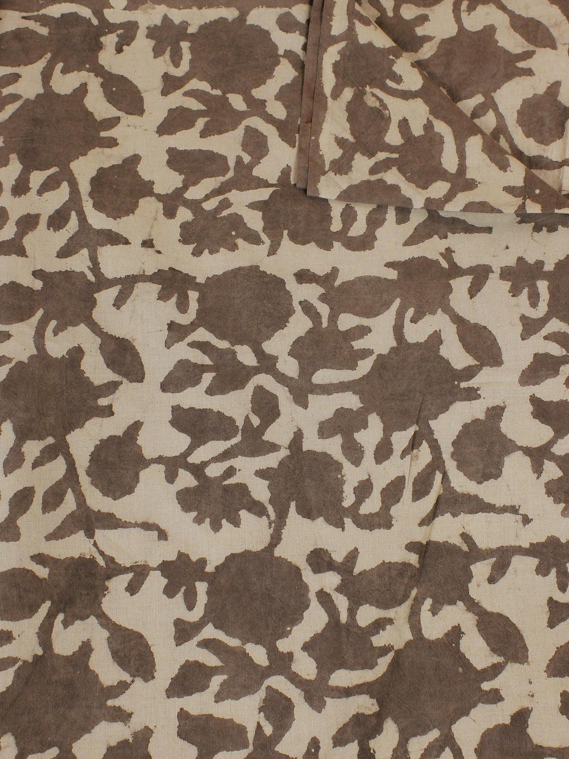 Beige Ivory Hand Block Printed Cotton Cambric Fabric Per Meter - F0916120