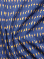 Royal Blue Mustard Pochampally Hand Weaved Ikat Mercerised Cotton Fabric Per Meter - F002F1859