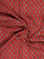 Rustic Red Hand Block Printed Cotton Fabric Per Meter - F001F2438