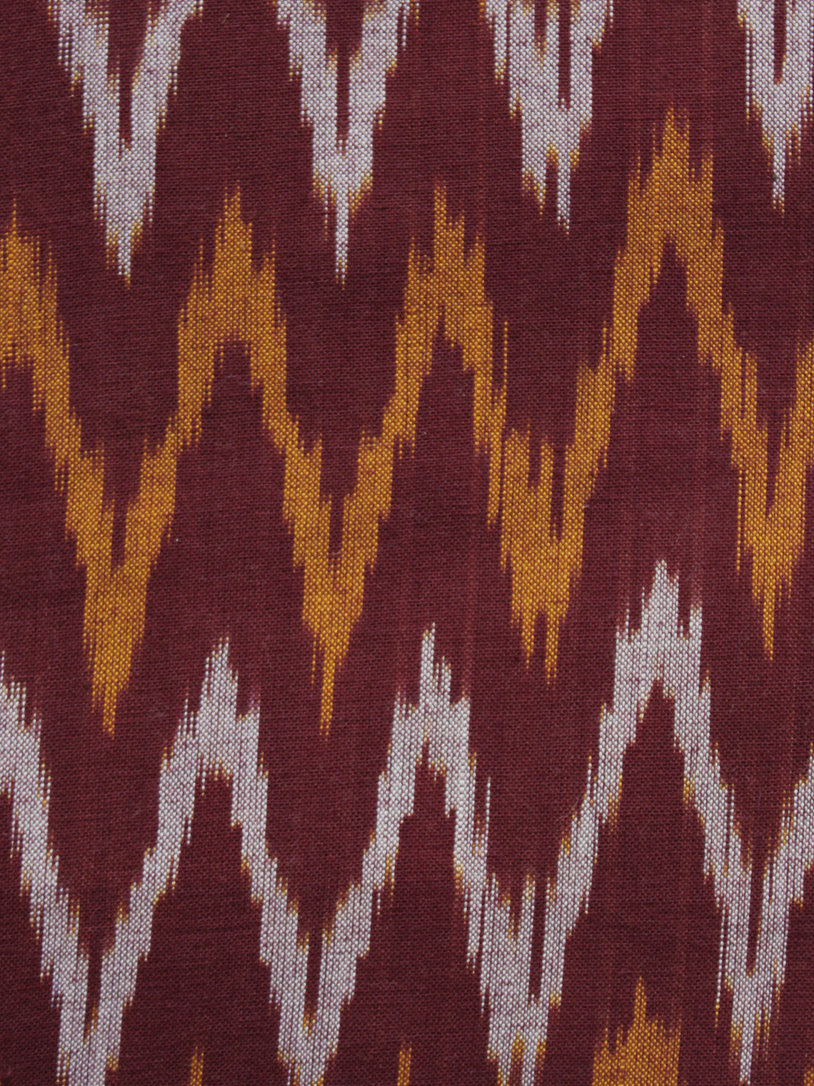 Maroon Orange Ivory Pochampally Hand Woven Ikat Fabric Per Meter - F002F909