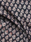 Black  Ivory Red Hand Block Printed Cotton Fabric Per Meter - F001F1145