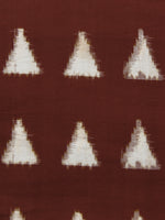 Brown White Hand Woven Double Ikat Handloom Cotton Fabric Per Meter - F002F1564