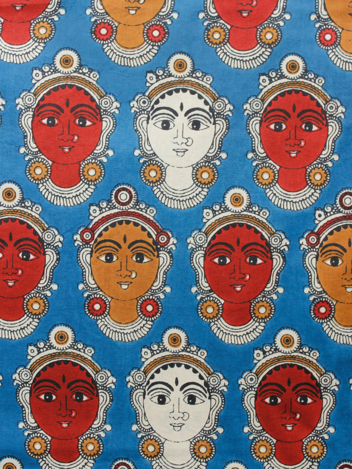 Blue Red Ivory Brown Hand Block Printed Cotton Fabric Per Meter - F001F1489
