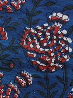 Indigo Red Ivory Hand Block Printed Cotton Fabric Per Meter - F001F1341