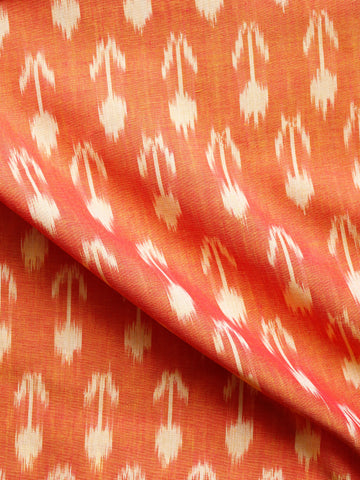 Golden Yellow Ivory Pochampally Hand Weaved Ikat Mercerised  Fabric Per Meter - F002F1412