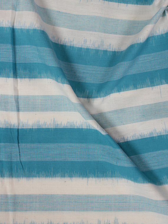 Sky Blue Ivory Pochampally Hand Weaved Double Ikat Fabric Per Meter - F002F855