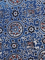 Indigo Ivory Black Rust Ajrakh Hand Block Printed Cotton Fabric Per Meter - F003F1681