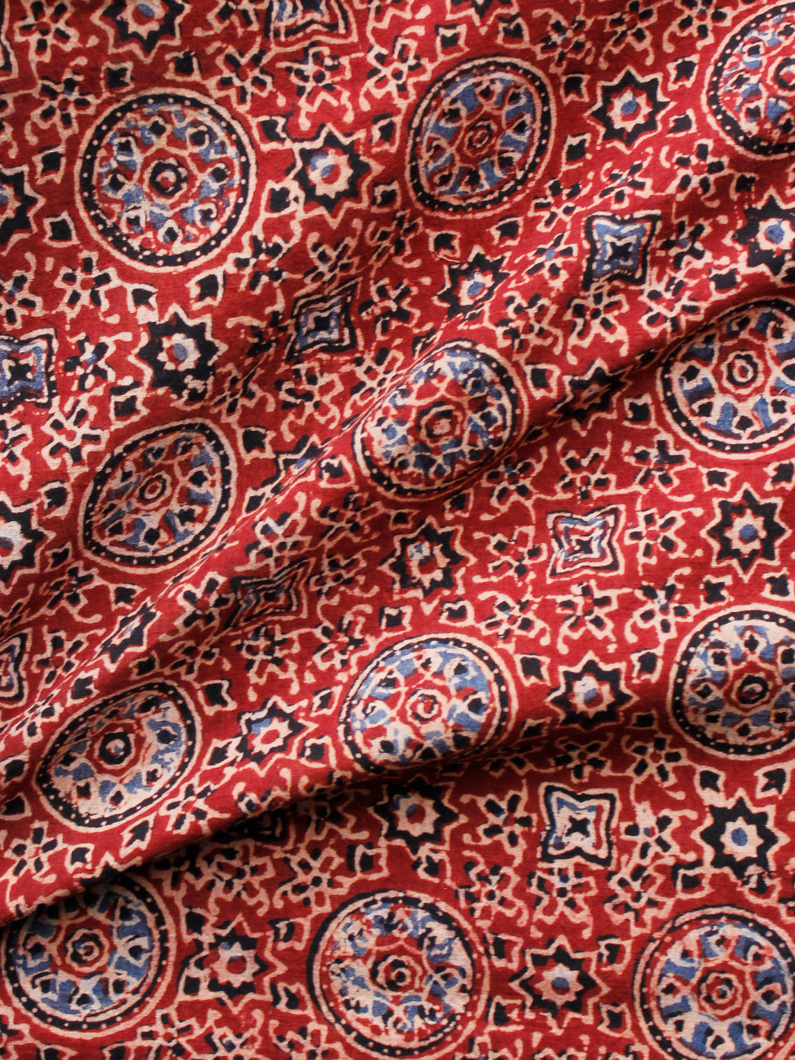 Red Black Blue Ivory Ajrakh Hand Block Printed Cotton Fabric Per Meter - F003F1683