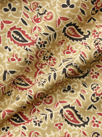 Olive Green Red Black Ajrakh Hand Block Printed Cotton Fabric Per Meter - F003F1724