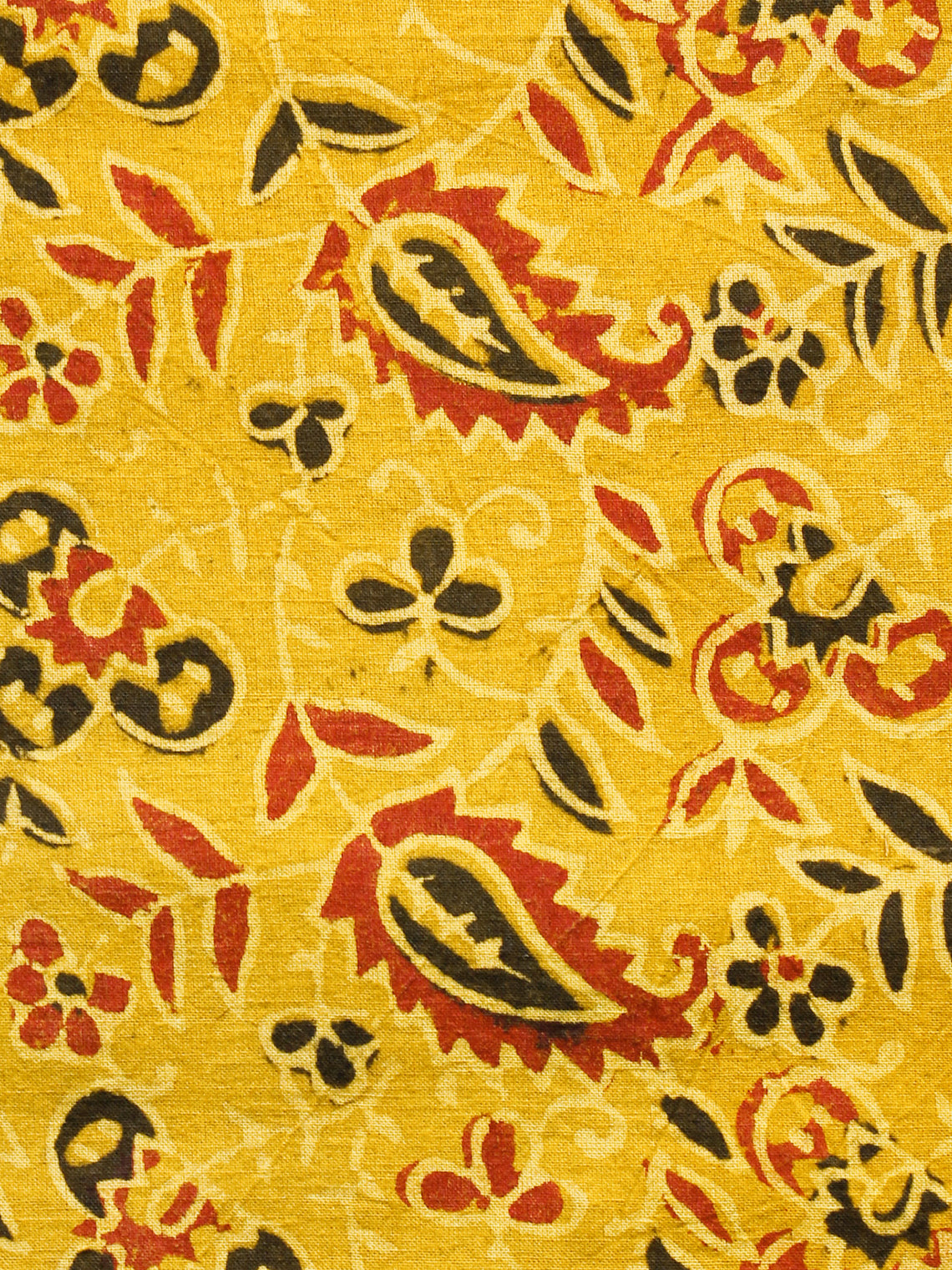 Yellow Black Red Ajrakh Hand Block Printed Cotton Fabric Per Meter - F003F1688