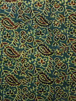 Green Rust Yellow Ajrakh Hand Block Printed Cotton Fabric Per Meter - F003F1690