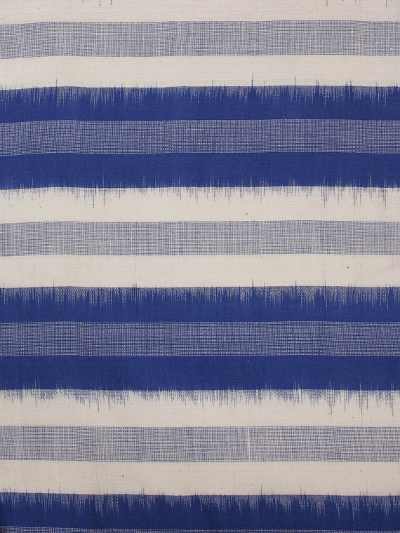 Royal Blue Ivory Grey Pochampally Hand Weaved Double Ikat Fabric Per Meter - F002F856