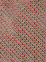 Tan Pink Green Block Printed Cotton Fabric Per Meter - F001F2389
