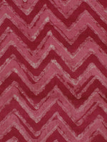 Dark Pink Red White Hand Block Printed Chanderi Silk Fabric Per Meter - F0916199