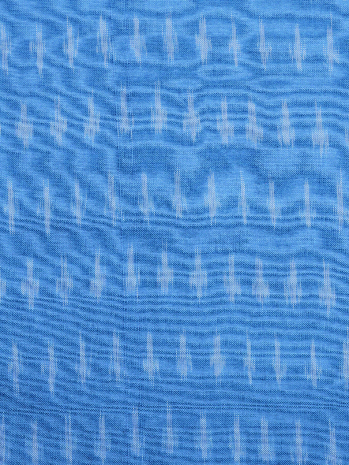 Blue Ivory Pochampally Hand Weaved Ikat Mercerised Cotton Fabric Per Meter - F002F1031