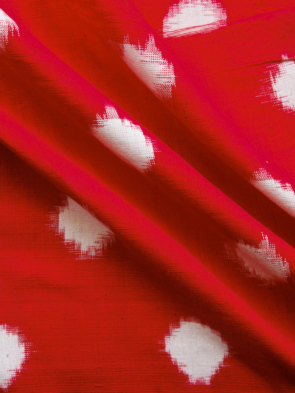 Red White Hand Woven Double Ikat Handloom Cotton Fabric Per Meter - F002F1565