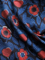 Black Indigo Red Hand Block Printed Cotton Fabric Per Meter - F001F1342