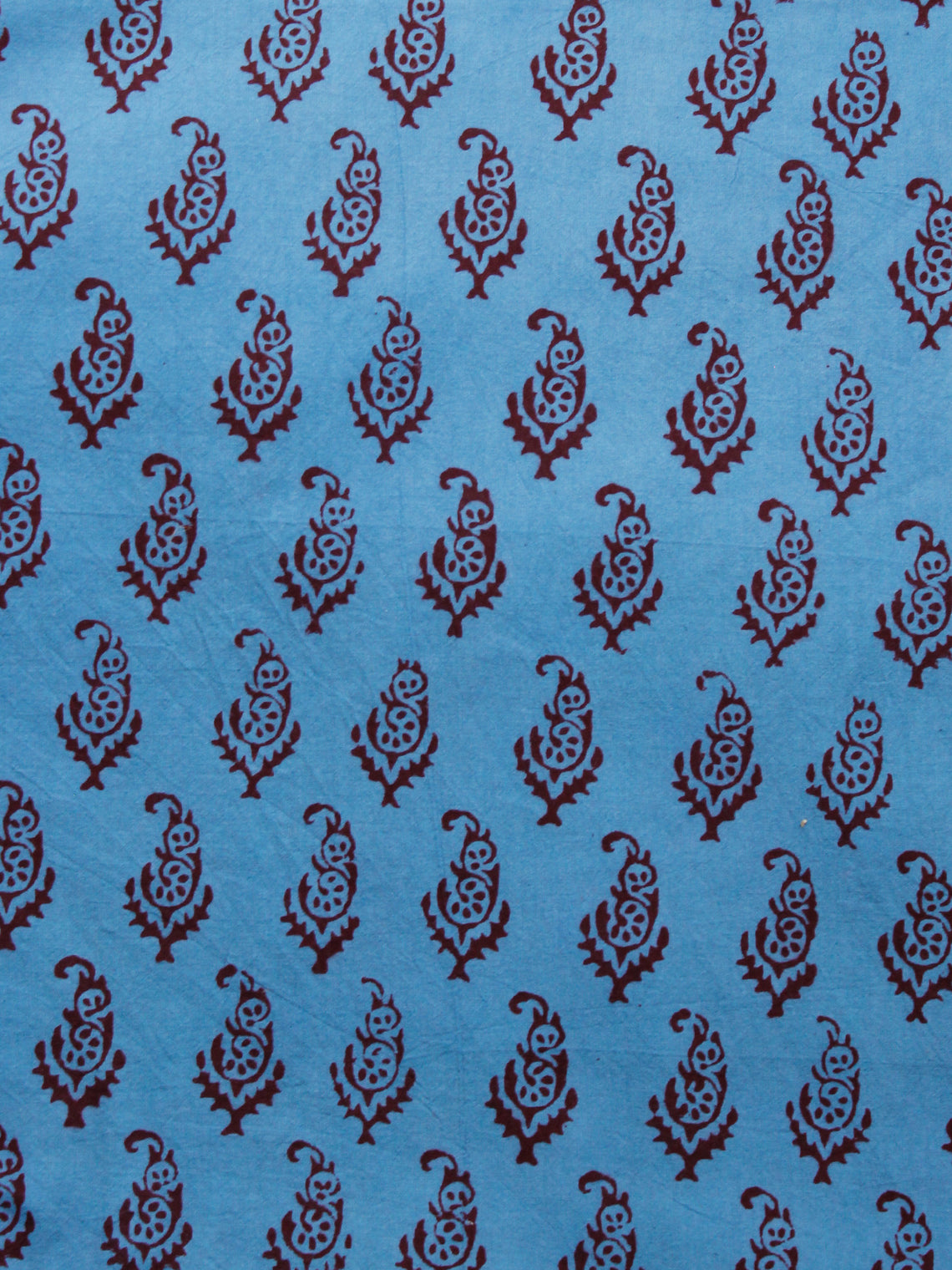 Blue Rust Brown Bagh Printed Cotton Fabric Per Meter - F005F1693