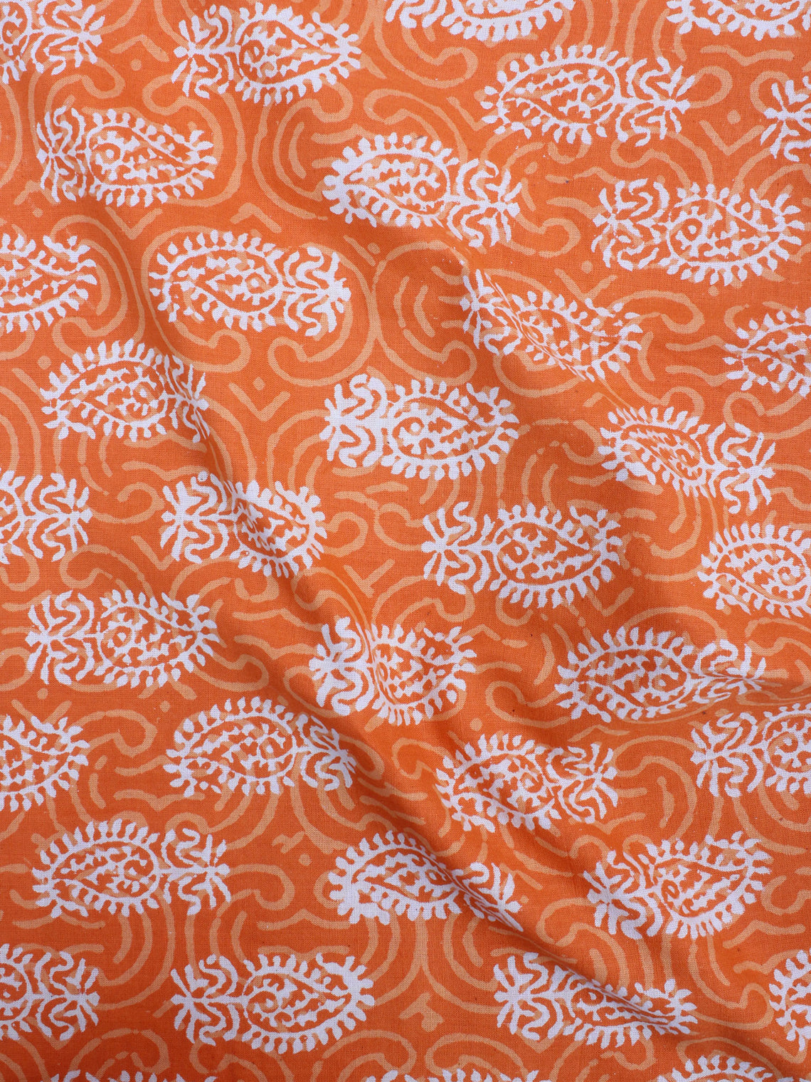 Orange Beige Bagru Hand Block Printed Cotton Fabric Per Meter - F0916182