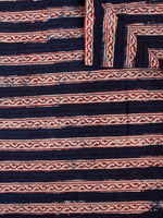 Blue Maroon Black Hand Block Printed Cotton Cambric Fabric Per Meter - F0916189
