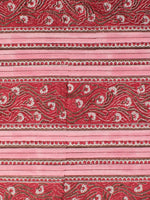 Pink Red White Hand Block Printed Cotton Fabric Per Meter - F001F2353