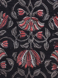 Black Grey Coral White Hand Block Printed Cotton Fabric Per Meter - F003F1328