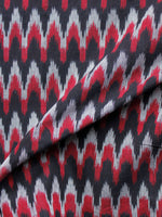 Black Red Grey Pochampally Hand Weaved Ikat Mercerised  Fabric Per Meter - F002F1414
