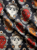 Black Maroon Ivory Brown KalamKari Hand Block Printed Cotton Fabric Per Meter - F001F1491