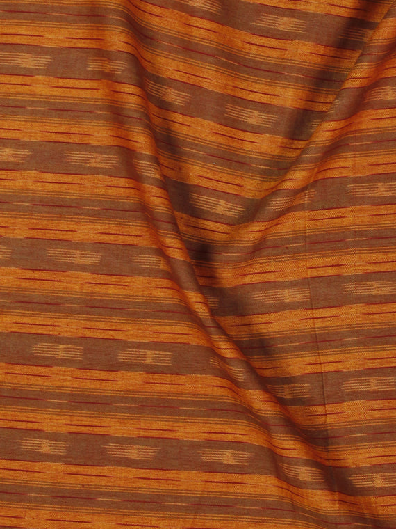 Rust Brown Ivory Pochampally Hand Weaved Ikat Fabric Per Meter - F002F857