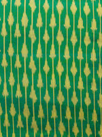 Green Yellow Pochampally Hand Weaved Ikat Mercerised Fabric Per Meter - F002F1568