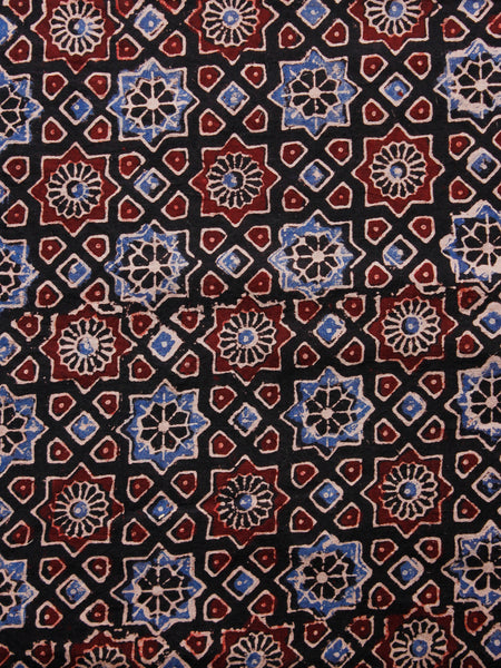 Oat Brown Black Maroon Ivory Ajrakh Hand Block Printed Cotton Fabric Per Meter - F003F1686