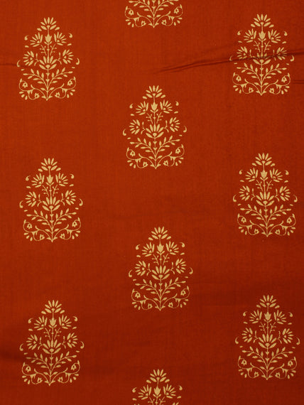 Crimson Red Gold Hand Block Printed Cotton Fabric Per Meter - F001F2003