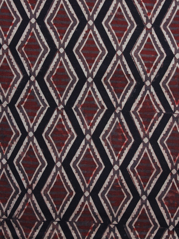 Brown Black Maroon Ivory Ajrakh Hand Block Printed Cotton Blouse Fabric - BPA014