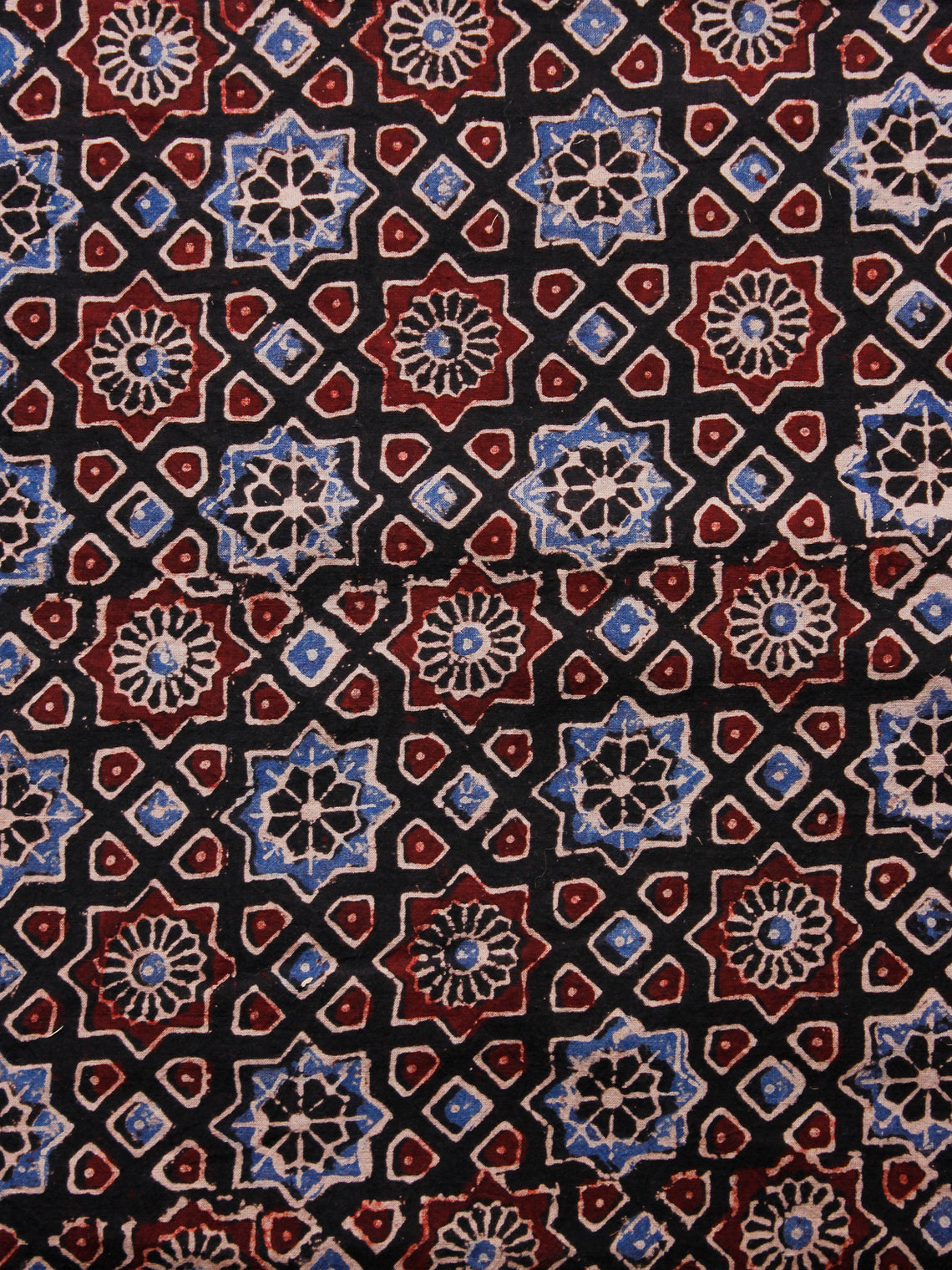 Black Blue Ivory Maroon Ajrakh Hand Block Printed Cotton Fabric Per Meter - F003F1588