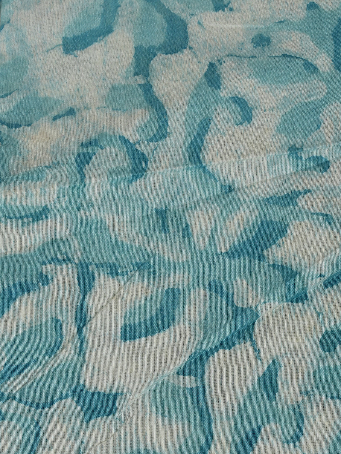 Sky Blue Ivory Hand Block Printed Chanderi Silk Fabric Per Meter - F0916197