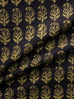 Black Olive Green Bagh Printed Cotton Fabric Per Meter - F005F1715
