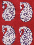 Red Black Beige Bagh Printed Cotton Fabric Per Meter - F005F1716