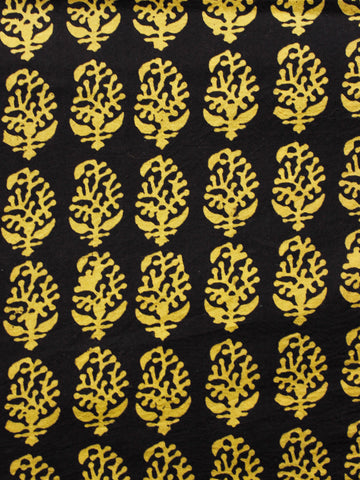 Black Yellow Bagh Printed Cotton Fabric Per Meter - F005F1717