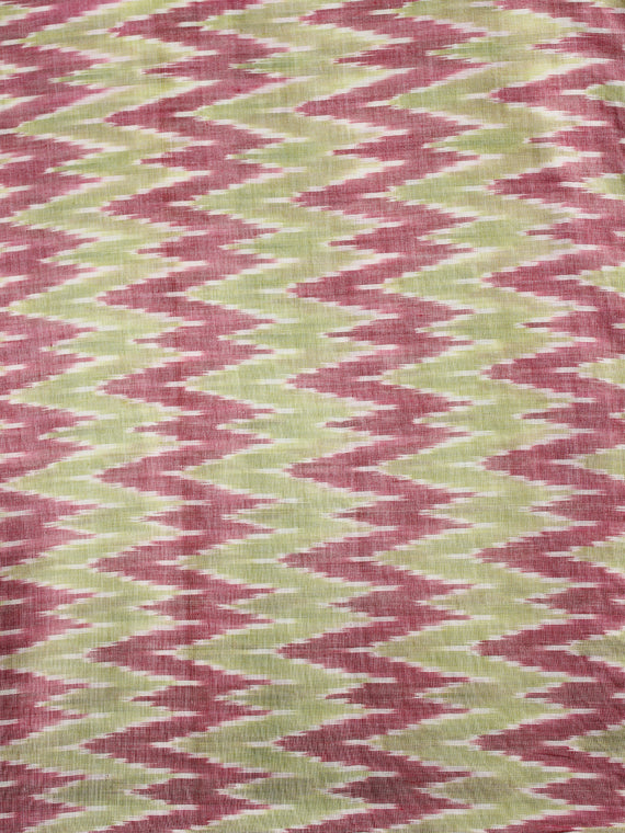 Light Green Wine Red White Pochampally Hand Weaved Ikat Mercerised Cotton Fabric Per Meter - F002F1961