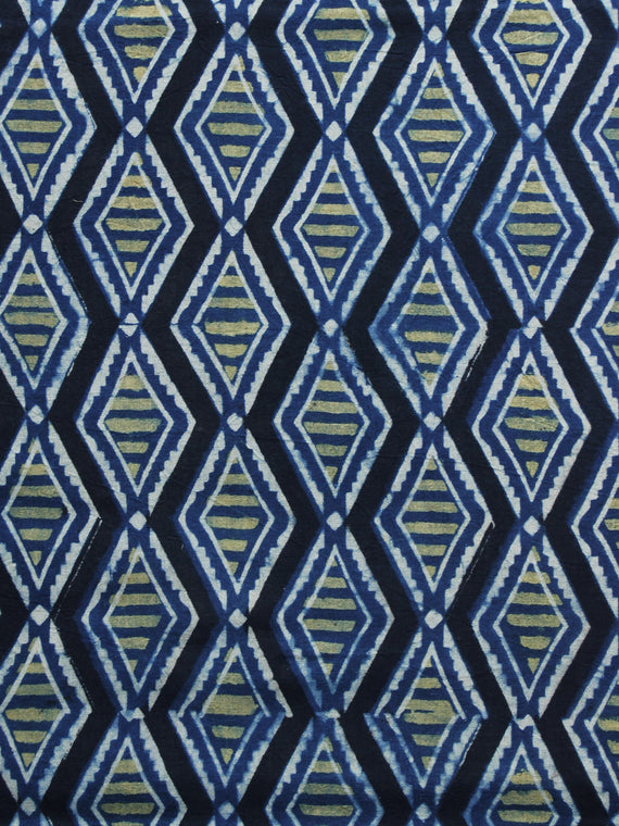 Indigo Green Black Ajrakh Hand Block Printed Cotton Blouse Fabric - BPA015