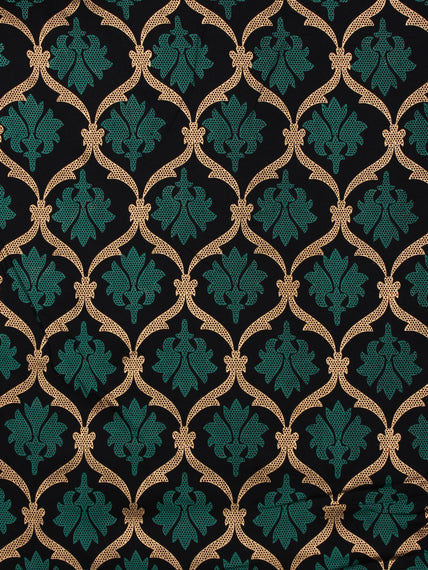 Navy Blue Green Gold Hand Block Printed Cotton Fabric Per Meter - F001F2005