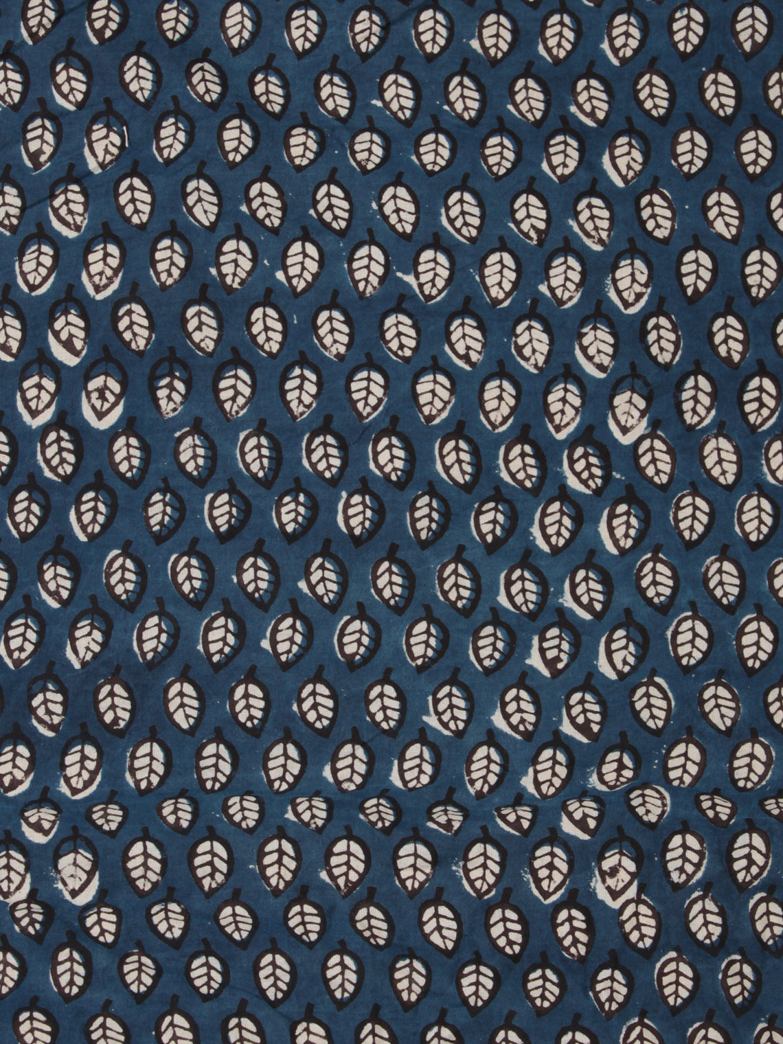 Indigo Black Hand Block Printed Cotton Fabric Per Meter - F001F2453