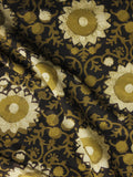 Black Olive Green Ivory Hand Block Printed Cotton Fabric Per Meter - F001F1061
