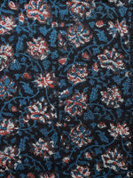 Black Indigo Brown White Hand Block Printed Cotton Fabric Per Meter - F001F1346
