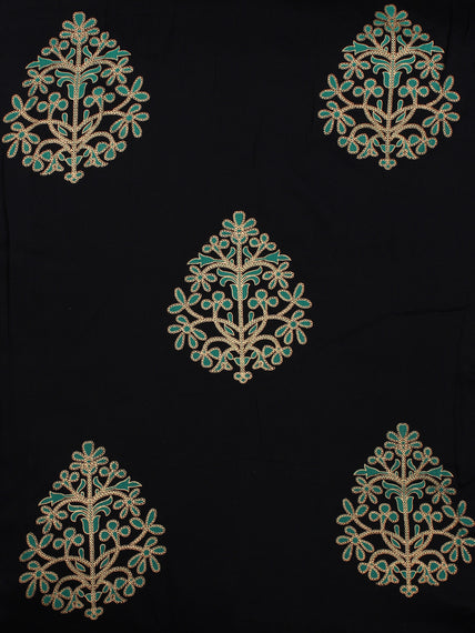 Navy Blue Green Gold Hand Block Printed Cotton Fabric Per Meter - F001F2004