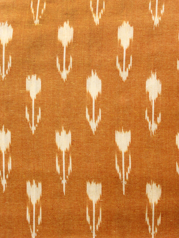 Mustard Cream Hand Woven Double Ikat Handloom Cotton Fabric Per Meter - F002F1569